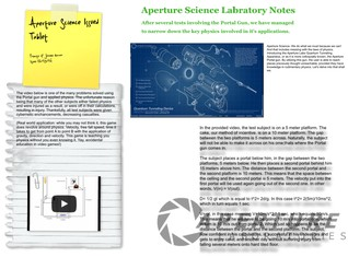 Aperture Science notes w video