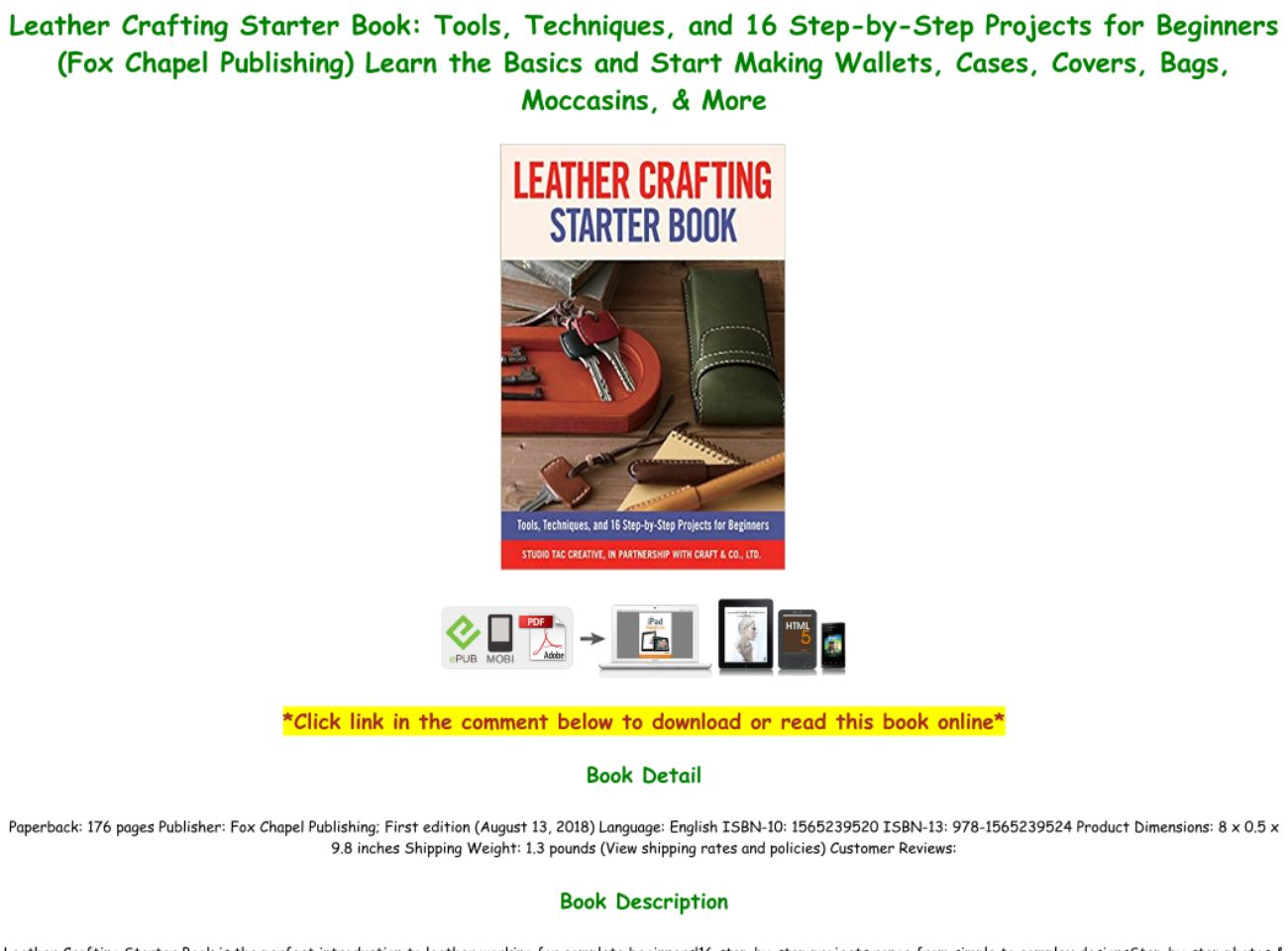 Read Book Pdf Leather Crafting Starter Book Tools Techniques And 16 Step By Step Projects For B Text Images Music Video Glogster Edu Interactive Multimedia Posters