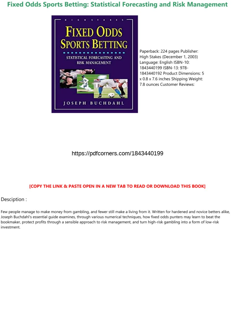 weighing the odds in sports betting pdf download