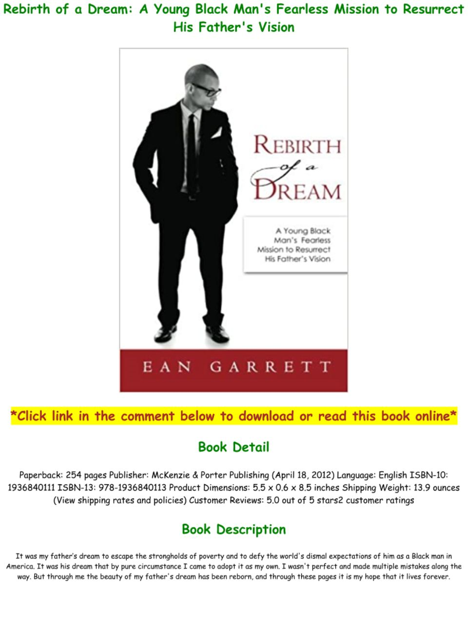 Download PDF Rebirth of a Dream A Young Black Man's Fearless ...