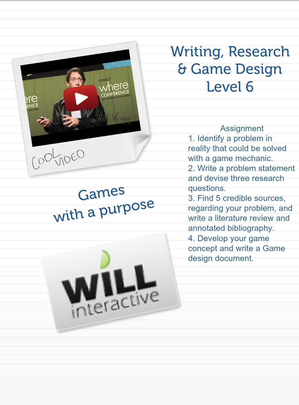 WRGD Level Text Images Music Video Glogster EDU - How to write a game design document
