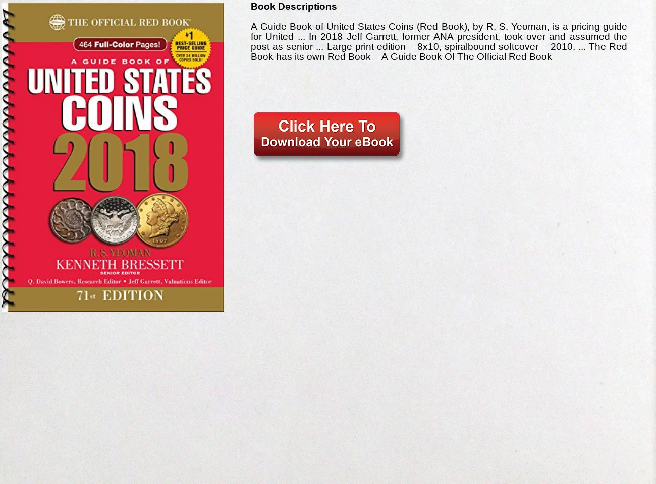Download Ebook A Guide Book of United States Coins 2018: The Official Red  Book,