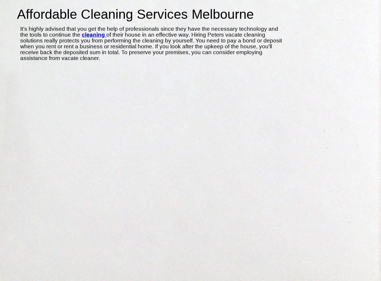 Affordable Cleaning Services Melbourne