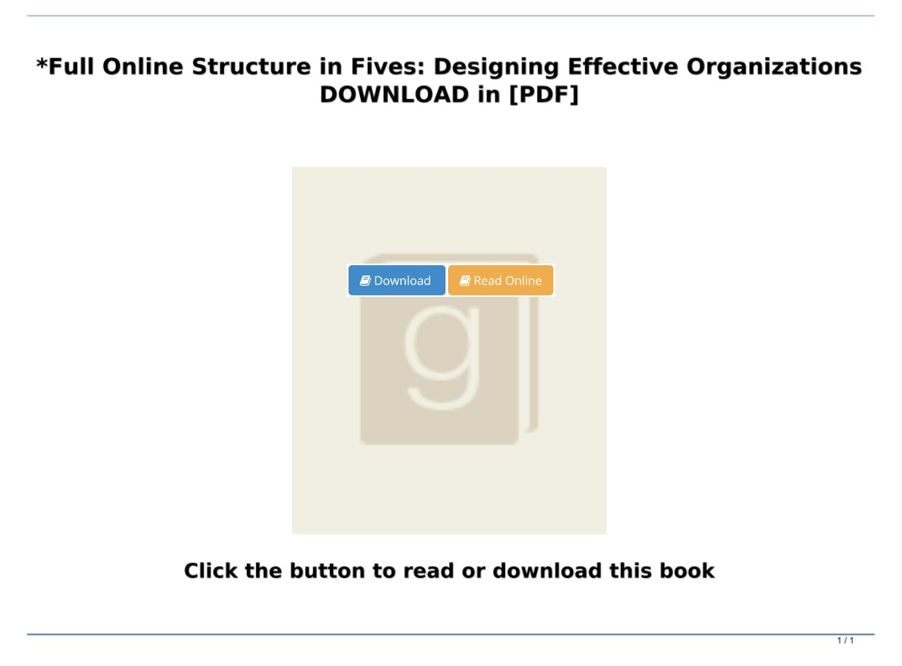 Pdf Mobi Epub Structure In Fives Designing Effective Organizations Full Online Text Images Music Video Glogster Edu Interactive Multimedia Posters