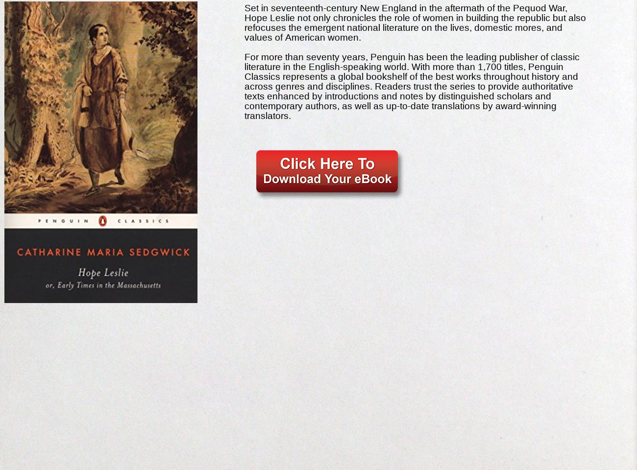 Download Ebook Hope Leslie: or, Early Times in the Massachusetts